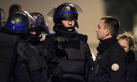 Elite French police at the scene of the Mohamed Merah siege in Toulouse.