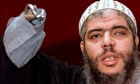 Abu Hamza at a news conference in London