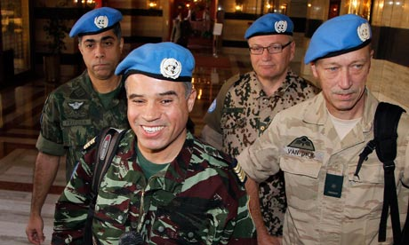 Colonel Ahmed Hommich and UN monitors team