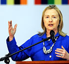 Hillary Clinton delivers a speech during the Open Government Partnership Annual Conference