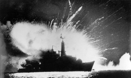 The British navy frigate HMS Antelope explodes in the bay of San Carlos off East Falkland