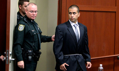 George Zimmerman as he was lead into a Seminole County courtroom for his bond hearing in April.