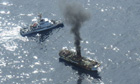 Japanese tsunami ghost ship the Ryou-Un Maru on fire
