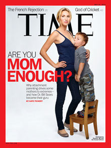 Time breastfeeding cover ignites debate around 'attachment parenting'  Magazine cover of Jamie Lynne Grumet, 26, breastfeeding her three-year-old son, criticised as 'exploitative and extreme'