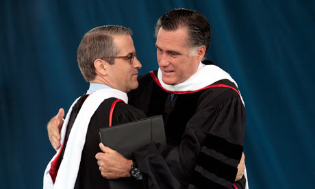 Mitt Romney with adviser Mark Demoss at Liberty University