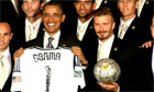 Barack Obama teases David Beckham over underwear – video