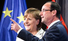 French President François Hollande meets Angela Merkel