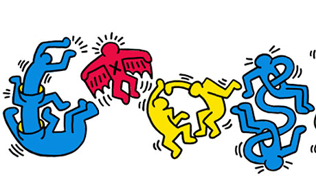 Google Doodle celebrates Keith Haring's pop art.