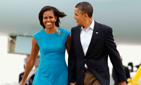 Barack and Michelle Obama arrive in Columbus, Ohio