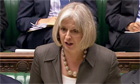 Theresa May reads a statement on security measures for the London Olympic Games in the Commons