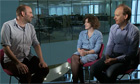 Xan Brooks, Catherine Shoard and Peter Bradshaw filming the Guardian Film Show