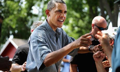 Barack Obama speaks on a campaign trip in Ohio