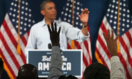 Barack Obama speaks at a campaign event in Poland, Ohio