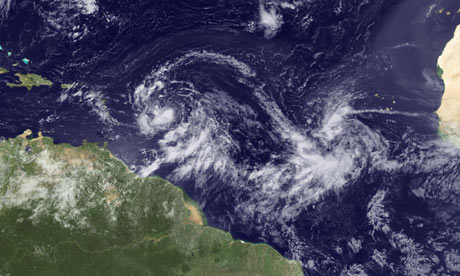 Tropical storm Isaac. Maximum winds must be at least 74mph for a tropical storm to be upgraded to hurricane status.