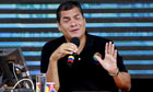 Rafael Correa speaks at weekly address
