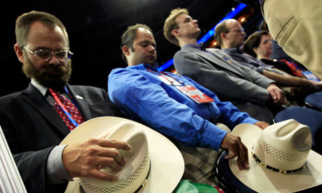 Delegates pray at the Republican national convention