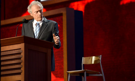 Clint Eastwood speaks to an empty chair