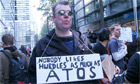 Disabled people protest outside Atos Headquaters - video