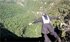 Belgian Base jumper Cedric Dumont jumps off the Gocta waterfall