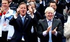 David Cameron and Boris Johnson cheer during victory parade