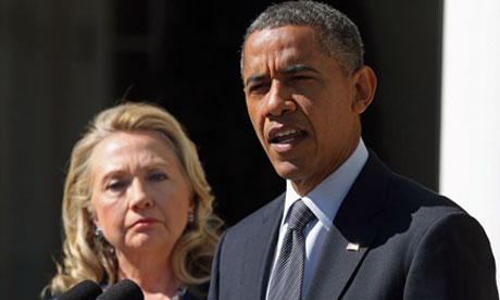 Obama and Clinton condemn the attack in Benghazi that killed US ambassador to Libya Chris Stevens