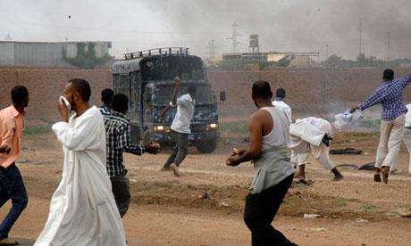 Sudanese demonstrators in Khartoum