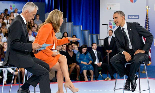 Barack Obama, Maria Elena Salinas, Jorge Ramos