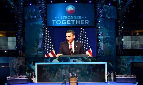 Barack Obama on screen in Charlotte