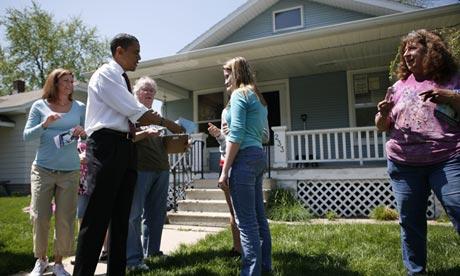 Barack Obama canvasses in Elkhart, Indiana in 2008