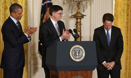 Tim Geithner is congratulated by Barack Obama and Jack Lew