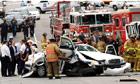 Smashed police car