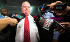 Rob Ford, the mayor of Toronto, deflects questions from journalists