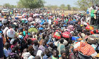 Civilians shelter at the United Nations Mission in Bor, South Sudan