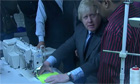Boris Johnson sewing 'codpiece' at London factory