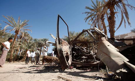 A car destroyed by a US drone strike in Yemen