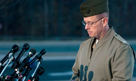 Col David Maxwell holds a news conference at Quantico marine base