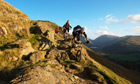 Mountain biking near Boredale Hause at Ullswater in the Lake District National Park, UK