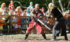 Reps perform a show for the kids and families at the Robin Hood Festival, Sherwood Forest