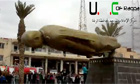 Statue of President Assad's father being pulled down by rebels in Raqqah