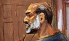 Artist sketch of Suleiman Abu Ghaith in court