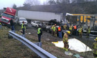 Rescue workers at accident scene in Virginia
