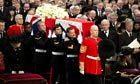 Coffin bearing body of Margaret Thatcher arrives at St Paul's Cathedral