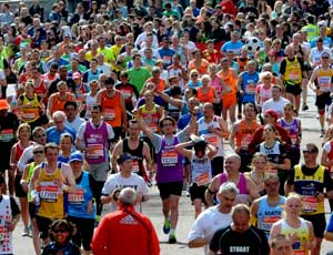 Competitors run in the 2012 London Marathon