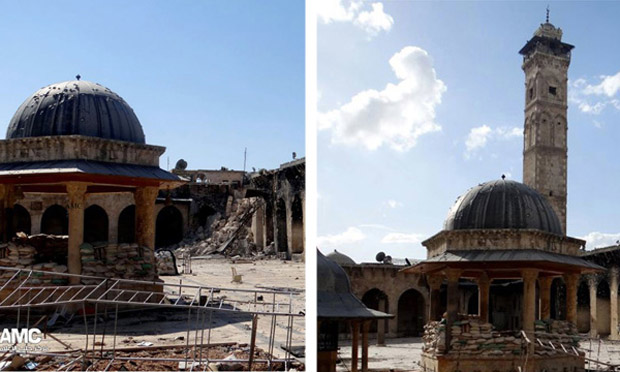 Left image shows Umayyad mosque's destroyed minaret and right image shows minaret intact