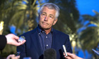 Chuck Hagel speaks with reporters in Abu Dhabi