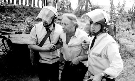 Arthur Scargill during riots with police in Sheffield in 1984