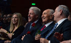 Shimon Peres feted by celebrities and leaders on 90th birthday – video