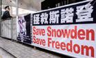 Edward Snowden banner in Hong Kong