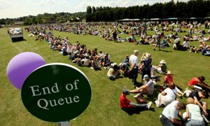 Are Wimbledon tennis fans observing queue etiquette guidelines? Tennis fans arriving at this year's Wimbledon tennis competition are being given a leaflet listing the guidelines for queueing.