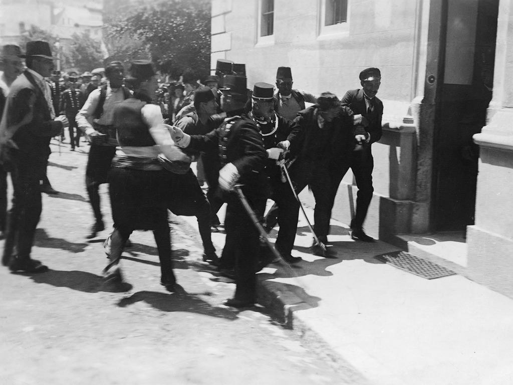 Gavrilo Princip is taken into custody after assassinating Archduke Francis Ferdinand
